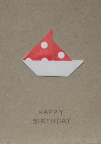 Origami Boat Greeting Card - Happy Birthday Recycled Paper