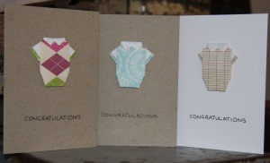 Origami Baby Onesie Greeting Card - Congratulations White and Recycled