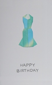 Origami Elegant Dress Greeting Card - Happy Birthday White Paper